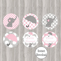 Pink & Gray Little Peanut Cupcake Toppers