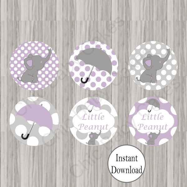 Lavender & Gray Little Peanut Cupcake Toppers