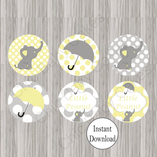 Yellow & Gray Little Peanut Cupcake Toppers