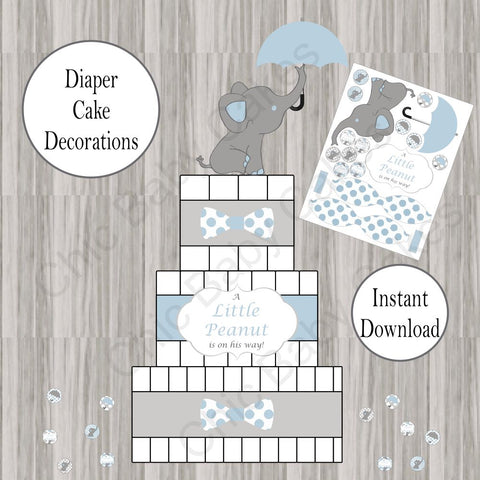 Little Peanut Diaper Cake Decorations - Blue