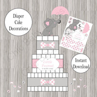 Pink & Gray Little Peanut Diaper Cake Decorations