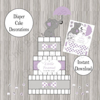 Lavender & Gray Little Peanut Diaper Cake Decorations