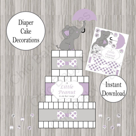 Little Peanut Diaper Cake Decorations - Purple