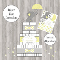 Yellow & Gray Little Peanut Diaper Cake Decorations