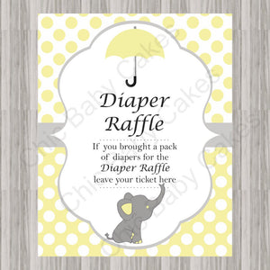 Yellow & Gray Little Peanut Baby Shower Diaper Raffle Sign