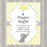 Little Peanut Diaper Raffle Tickets & Sign - Yellow
