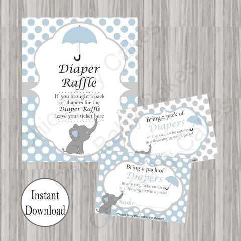 Little Peanut Diaper Raffle Tickets & Sign - Blue
