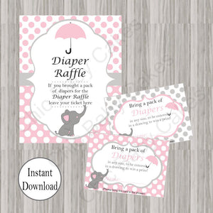 Pink & Gray Little Peanut Diaper Raffle Set