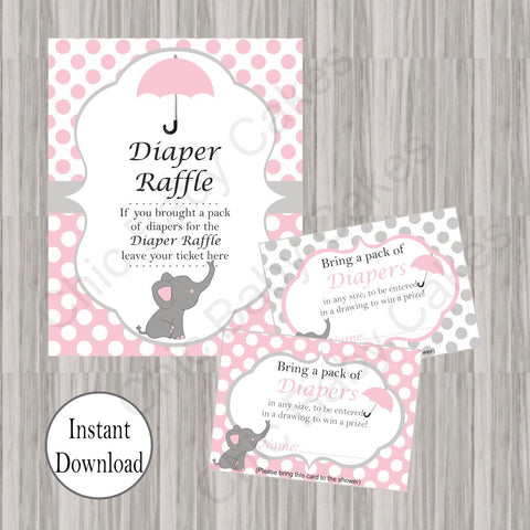 Little Peanut Diaper Raffle Tickets & Sign - Pink