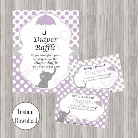 Little Peanut Diaper Raffle Tickets & Sign - Purple