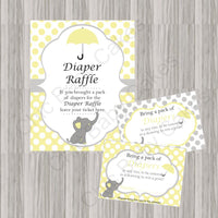 Yellow & Gray Little Peanut Baby Shower Diaper Raffle Set