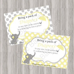 Yellow & Gray Little Peanut Baby Shower Diaper Raffle Tickets