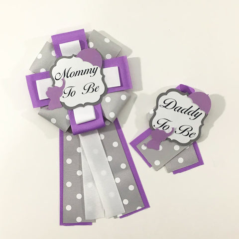 Little Peanut Mommy & Daddy-to-Be Pin - Purple