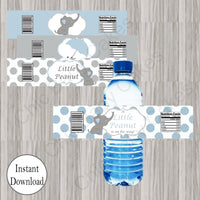 Blue & Gray Little Peanut Water Bottle Labels