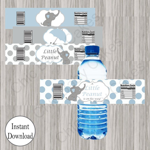 Little Peanut Water Bottle Labels - Blue