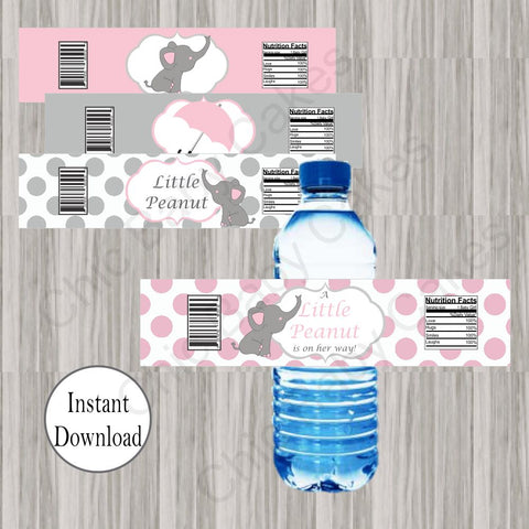 Little Peanut Water Bottle Labels - Pink