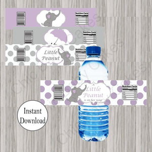 Lavender & Gray Little Peanut Water Bottle Labels