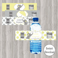Yellow & Gray Little Peanut Water Bottle Labels