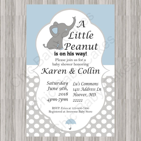 Little Peanut Baby Shower Invite - Blue
