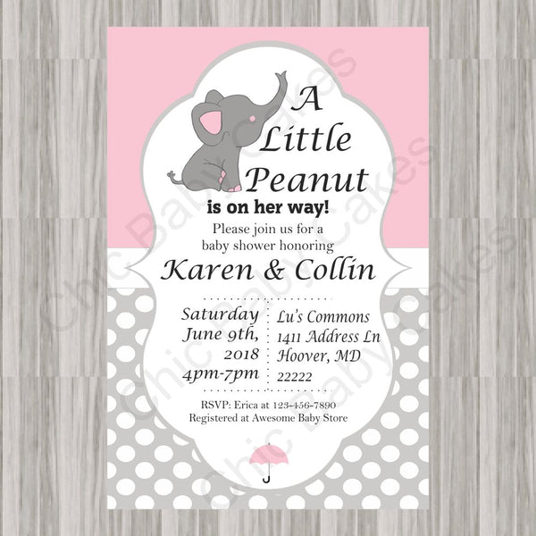 Pink & Gray Little Peanut Baby Shower Invite