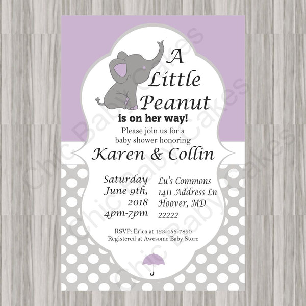 Purple & Gray Little Peanut Baby Shower Invitation