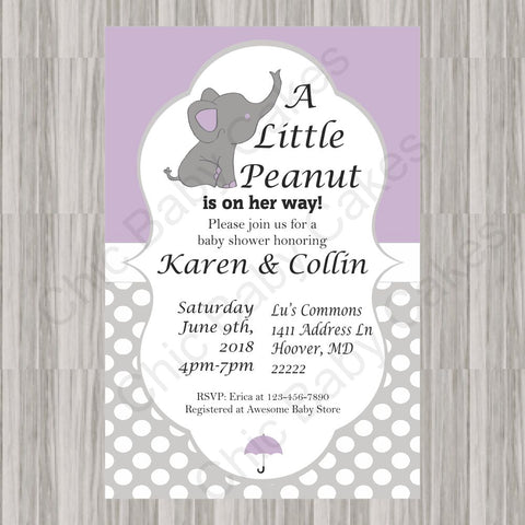 Little Peanut Baby Shower Invite - Purple
