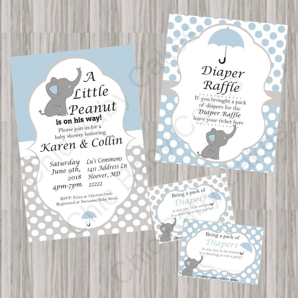 Blue and Gray Little Peanut Baby Shower Invite Set
