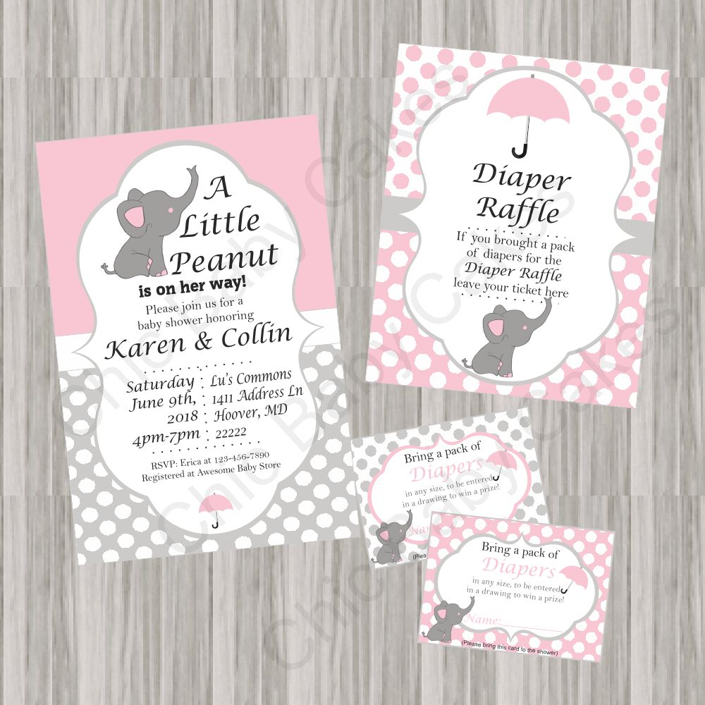 Little Peanut Baby Shower Invite Bundle - Pink