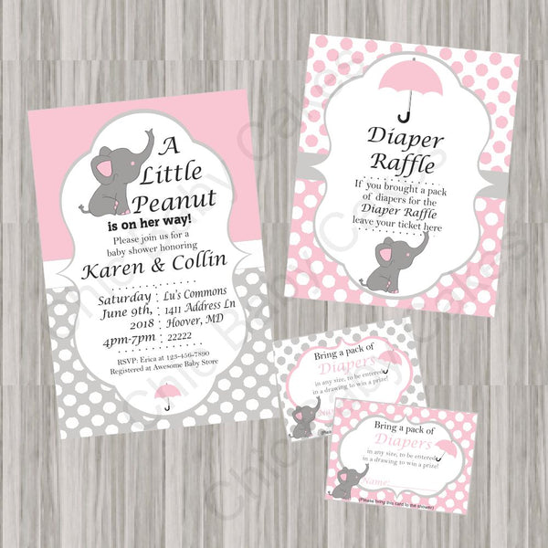Pink & Gray Little Peanut Baby Shower Invite Set
