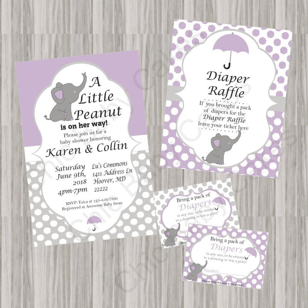 Purple & Gray Little Peanut Baby Shower Invite Set