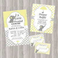 Yellow & Gray Little Peanut Baby Shower Invite Set