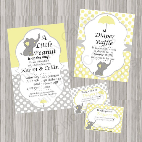 Little Peanut Baby Shower Invite Bundle - Yellow