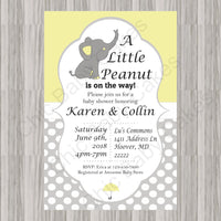 Yellow & Gray Little Peanut Baby Shower Invite