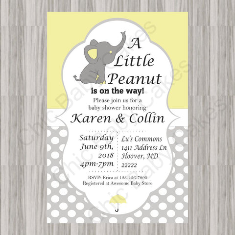 Little Peanut Baby Shower Invite - Yellow
