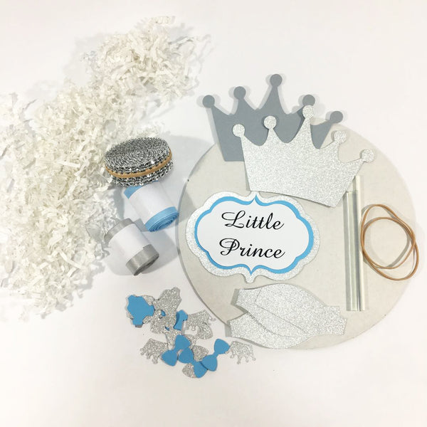 Light Blue and Silver Little Prince Diaper Cake Kit
