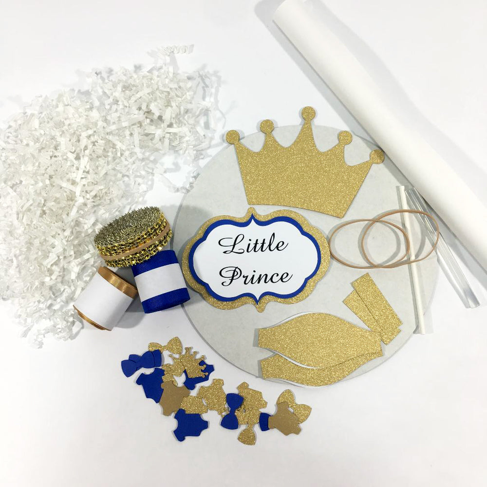 Royal Blue and Gold Little Prince Diaper Cake Kit