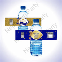 Royal Blue & Gold Little Prince Water Bottle Labels, Curly