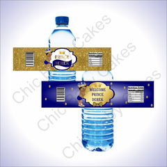 Printable Prince Water Bottle Labels - Blue & Gold, Black