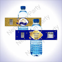 Royal Blue & Gold Little Prince Water Bottle Labels, Brown