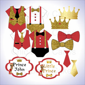 Red & Gold Little Prince Clipart Decorations, Curly