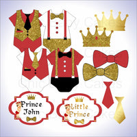 Red & Gold Little Prince Clipart Decorations, Brunette