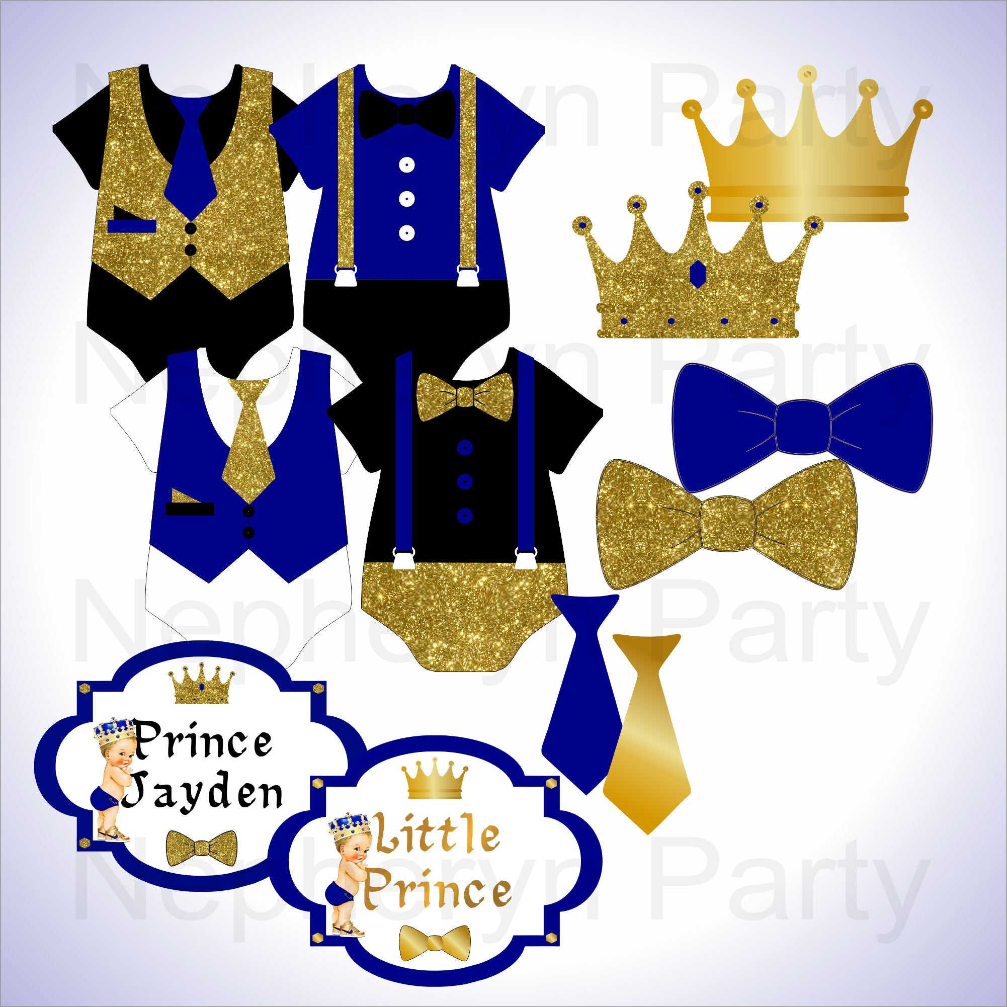 Clipart Instant Download Royal Blue Little Prince Ornate Gold Crown Gold Sneakers Rattle Baby Boy 3 Skin Tones
