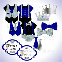Royal Blue & Silver Little Prince Clipart Decorations, Brunette