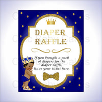Blue & Gold Royal Prince Diaper Raffle Sign