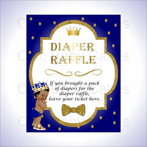 Royal Blue & Gold Prince Diaper Raffle Sign