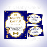 Royal Blue & Gold Prince Diaper Raffle Set, Brown