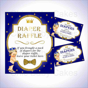 Royal Blue & Gold Prince Diaper Raffle Set, Brunette