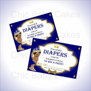 Blue & Gold Royal Prince Diaper Raffle Tickets