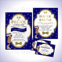 Royal Blue & Gold Little Prince Baby Shower Invite & Diaper Raffle