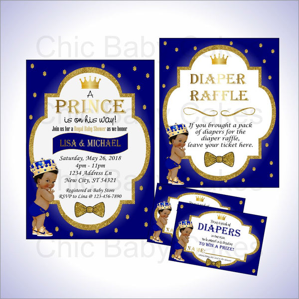 Royal Blue & Gold Little Prince Invite & Diaper Raffle